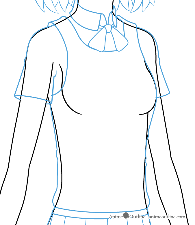 Drawing anime girl clothes on the body