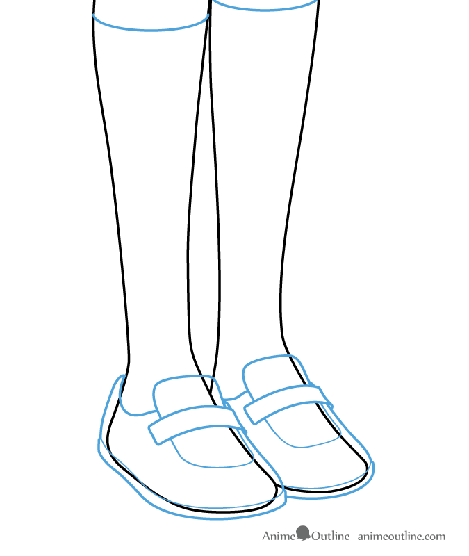 Drawing anime girl shoes and socks on the body