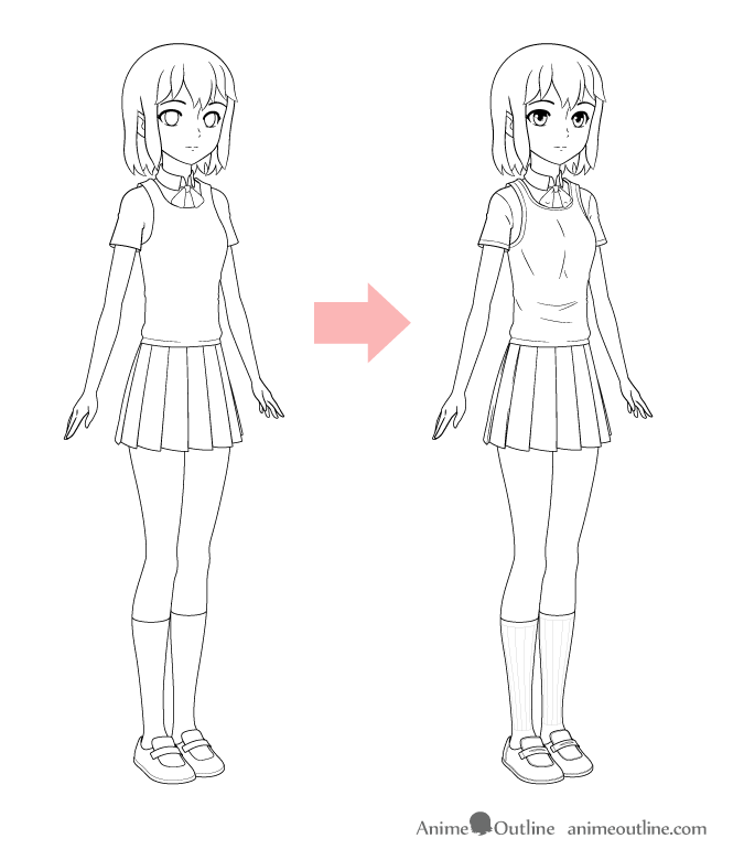 Drawing anime school uniform folds and details
