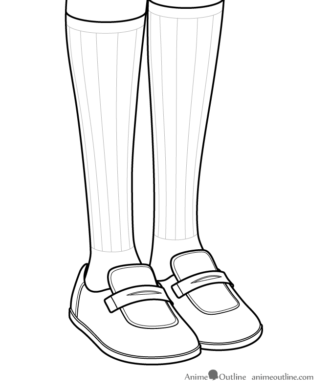 Anime girl shoes and socks details