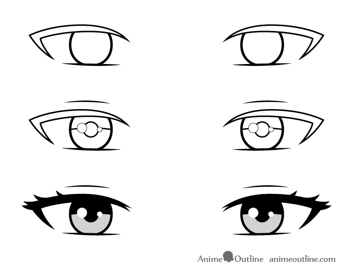 Beautiful anime girl eyes drawing step by step
