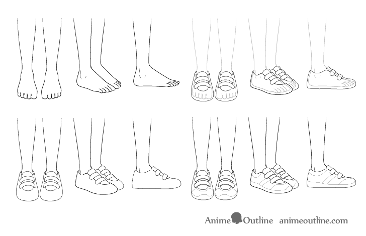 Anime running shoes drawing step by step