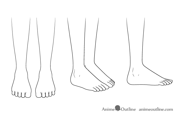 Anime running shoes feet drawing