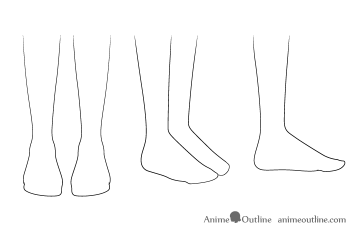 Anime feet outline drawing