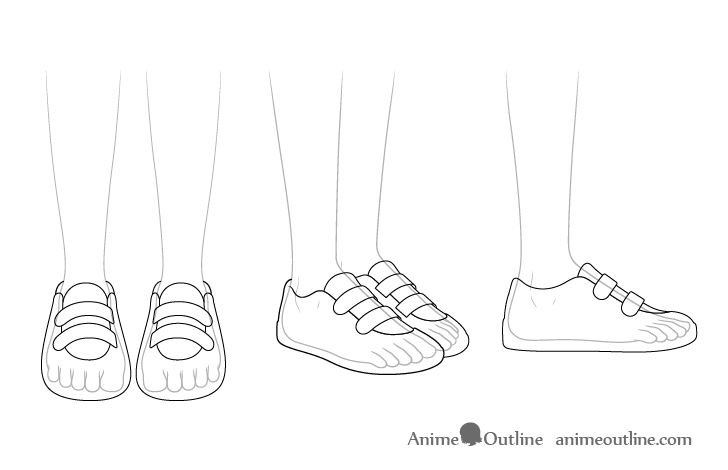 Anime running shoes see through drawing