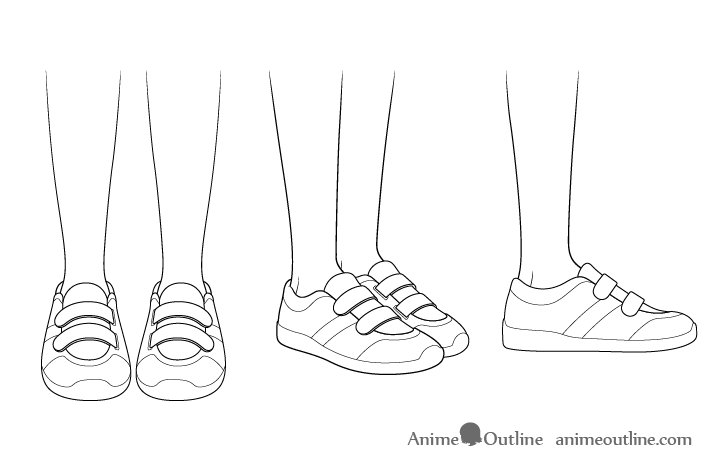 Anime running shoes drawing