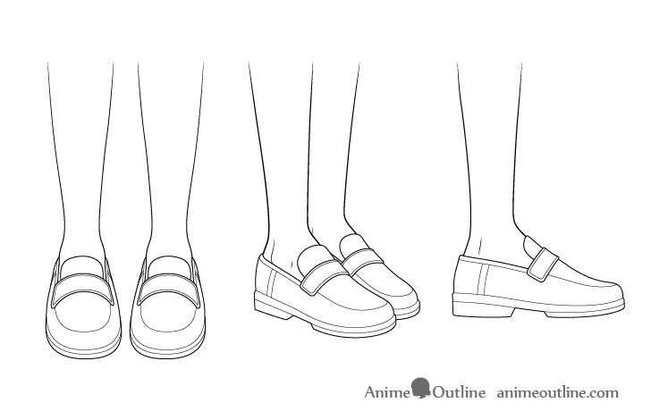 Anime school shoes drawing