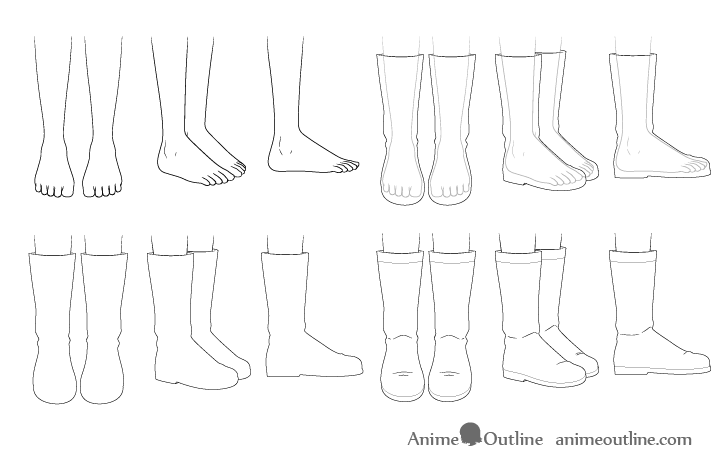 Anime boots drawing step by step