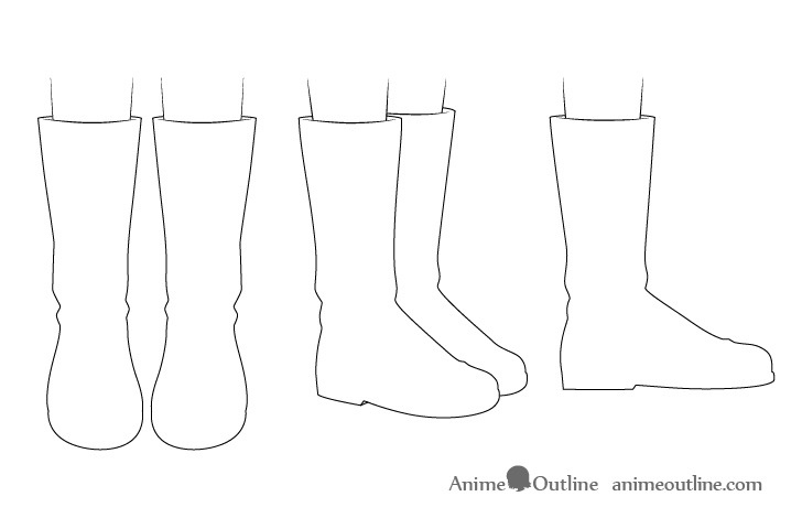 Anime boots outline drawing