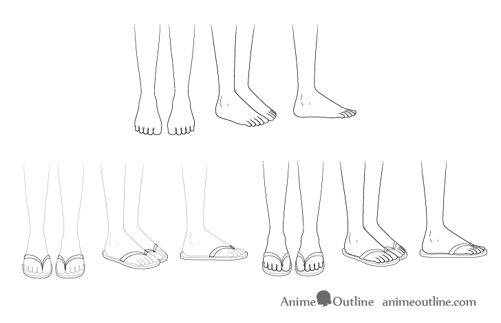 Anime sandals drawing step by step