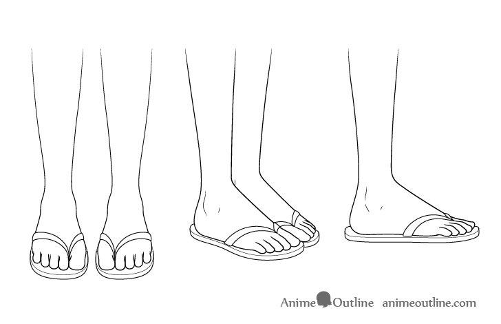 Anime sandals drawing