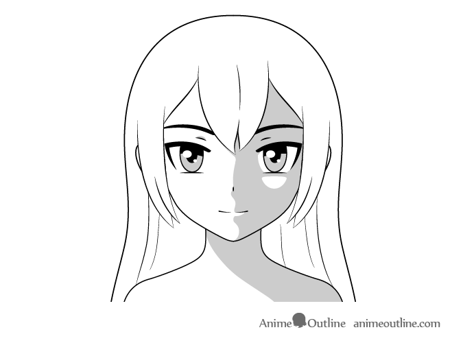Anime face shading top side lighting