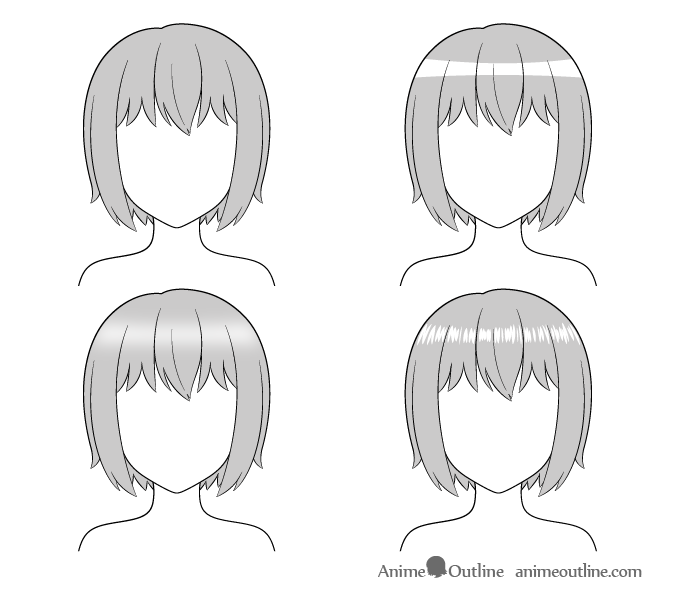 Anime hair highlights drawing examples