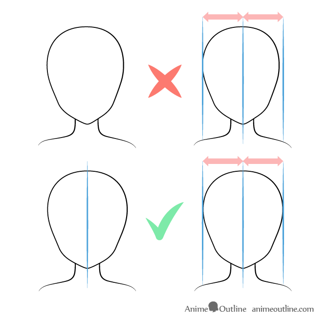 Anime head drawing without guide lines mistake