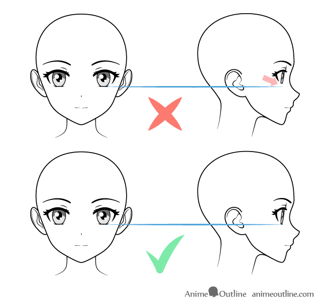 Sizing anime facial features in different views