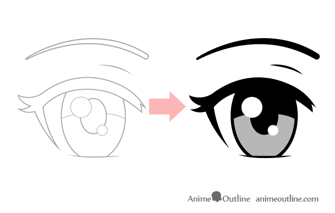 Sketch to clean drawing anime eye