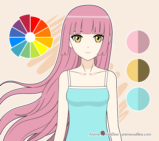 Anime girl triadic colors drawing