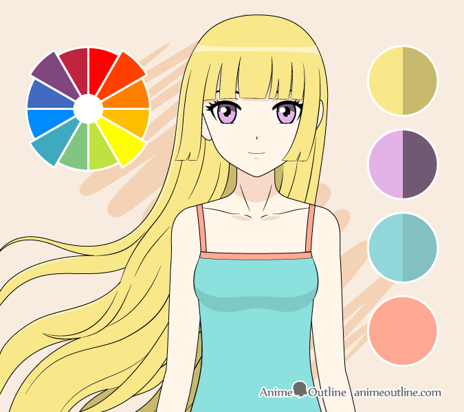 Anime girl square colors drawing