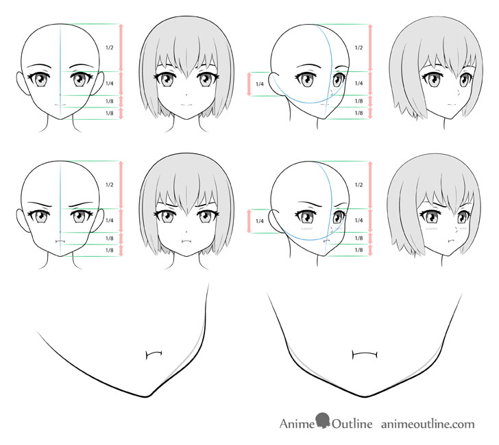 Anime puffy face drawing different views