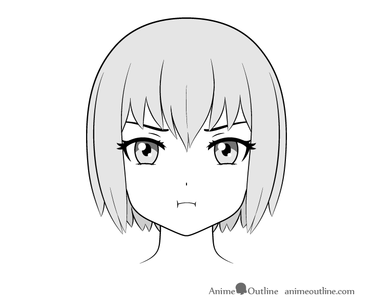 Anime pouting face drawing