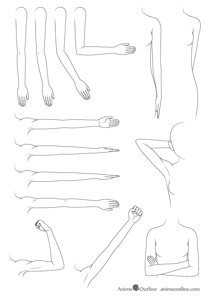 Anime arms drawing examples