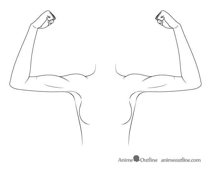 Anime arms flexed drawing
