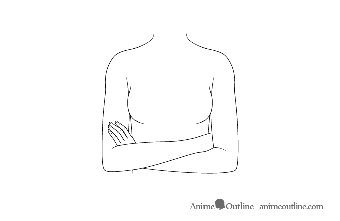 Anime crossed arms drawing