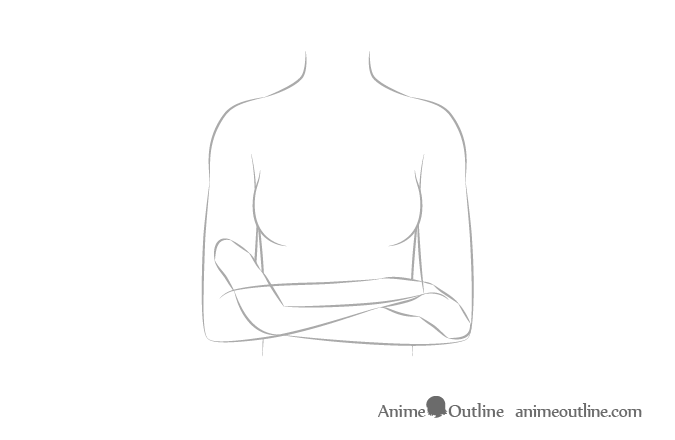Anime crossed arms see through sketch