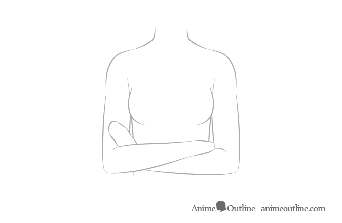 Anime crossed arms sketch