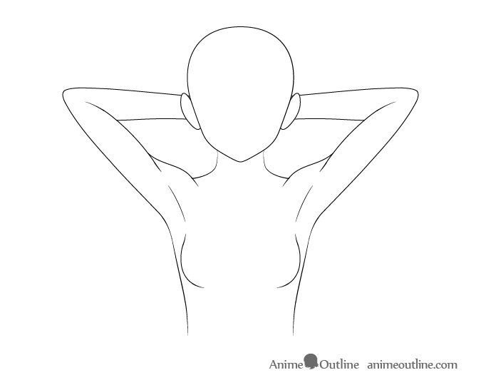 Anime arms behind head drawing