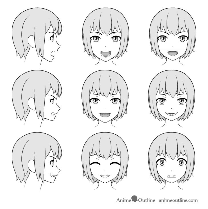 Anime teeth drawing on faces
