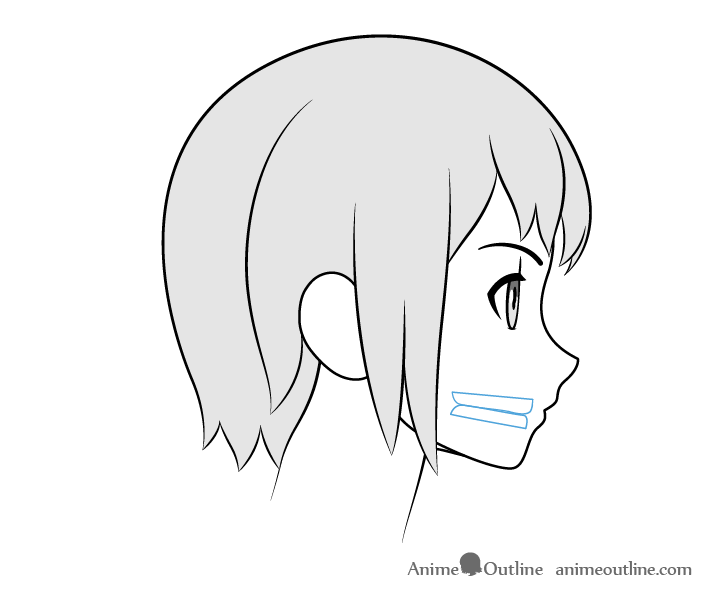 Anime teeth closed mouth side view