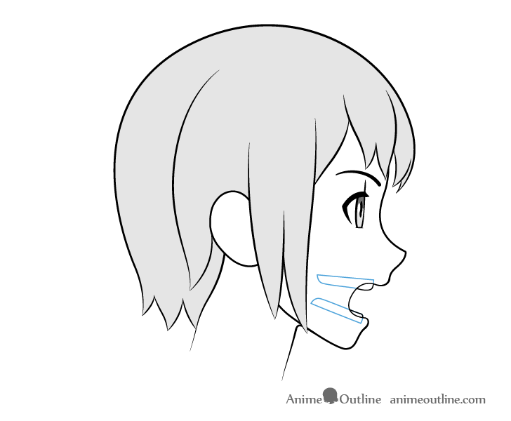 Anime teeth open mouth side view