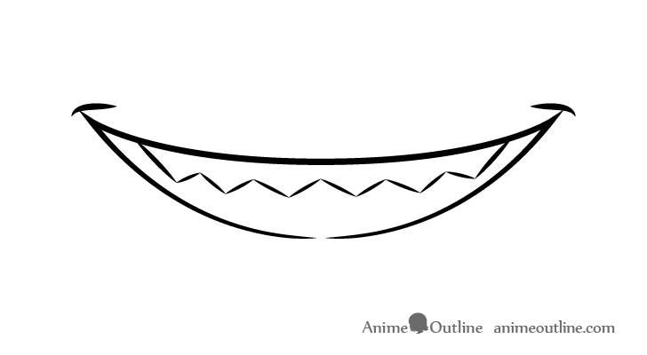Anime sharp teeth smiling mouth drawing