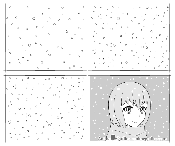 anime snow drawing step by step