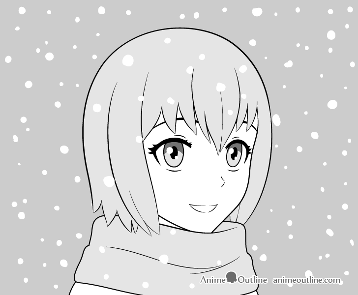 Anime girl in snow drawing
