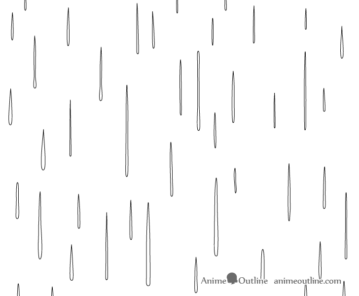 Anime foreground raindrops drawing