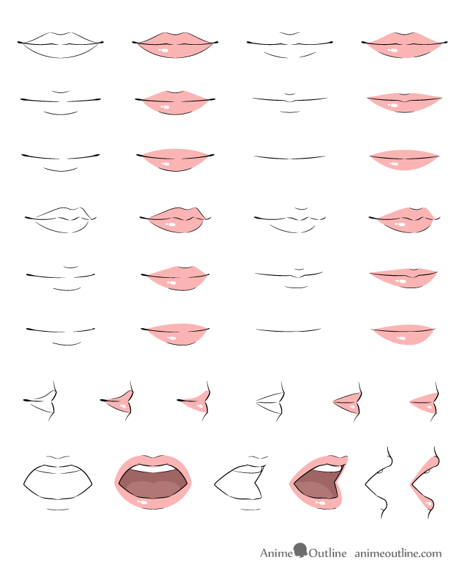 Anime lips drawing examples