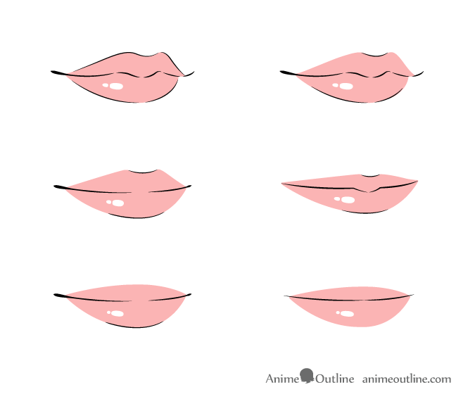 Anime lips 3/4 view in color