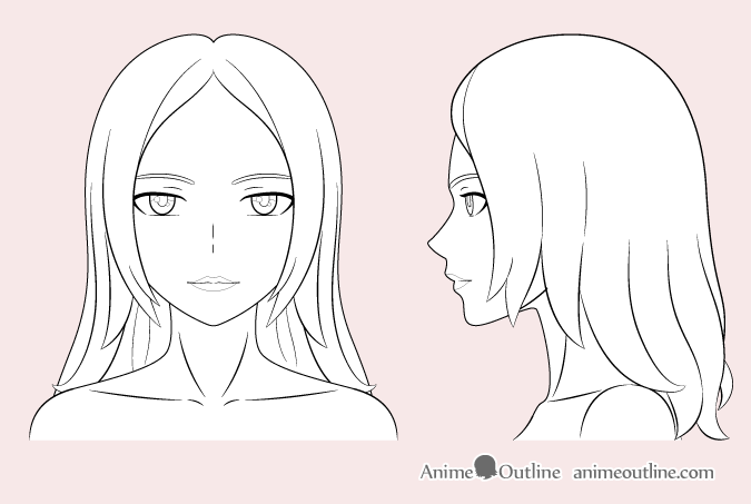 Anime woman outline drawing