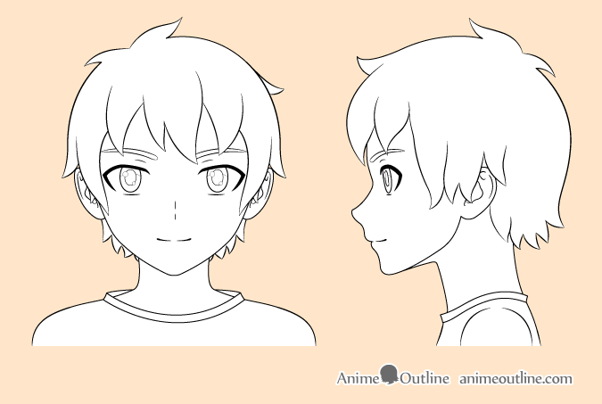 Anime boy outline drawing