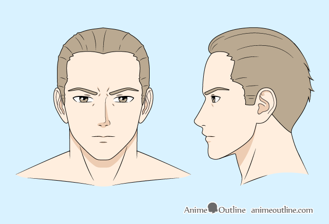 Anime man shaded color drawing