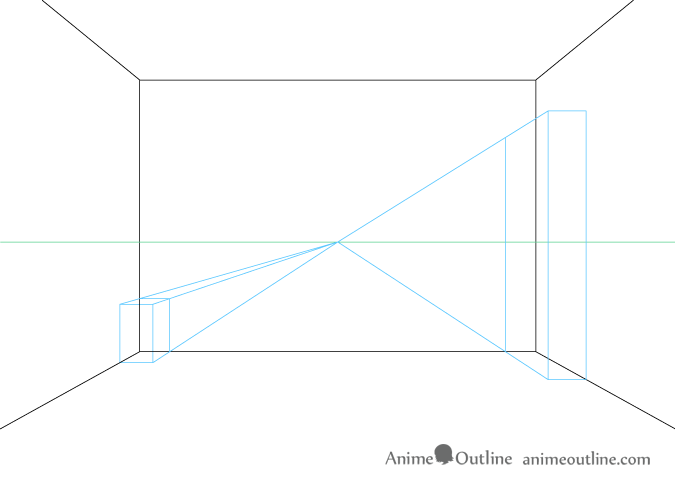 One point perspective drawing background furniture