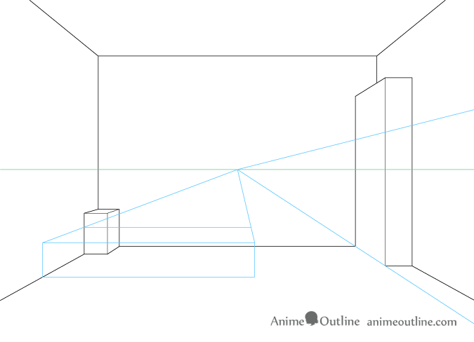 One point perspective drawing furniture