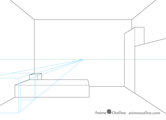 One point perspective drawing computer desk