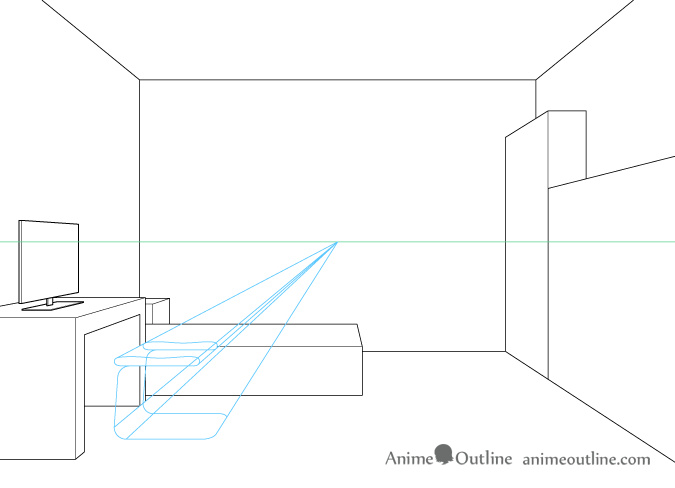 One point perspective drawing computer chair base and seat