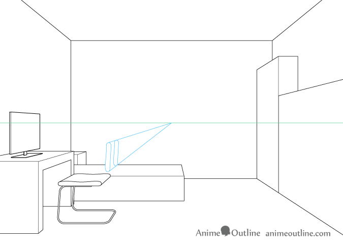 One point perspective drawing computer chair backrest