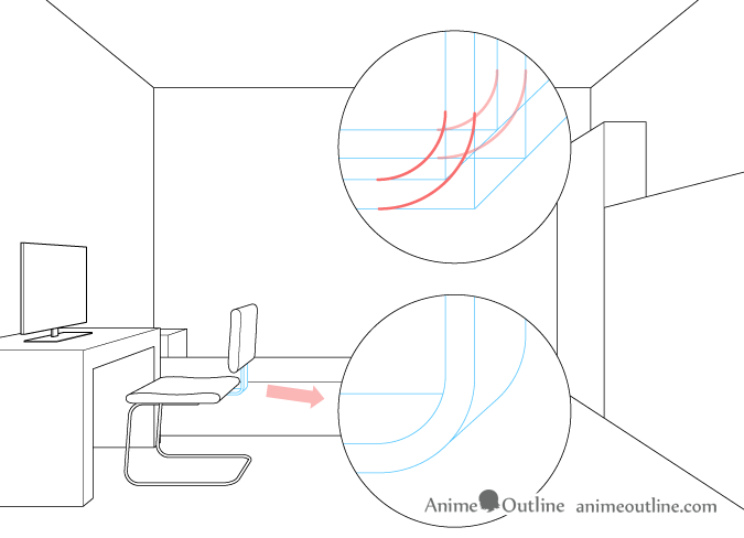 One point perspective drawing computer chair backrest attachment