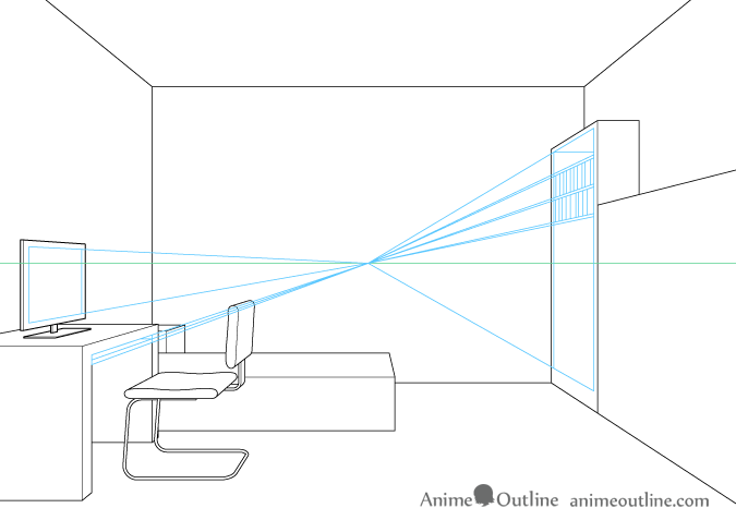 One point perspective drawing furniture details