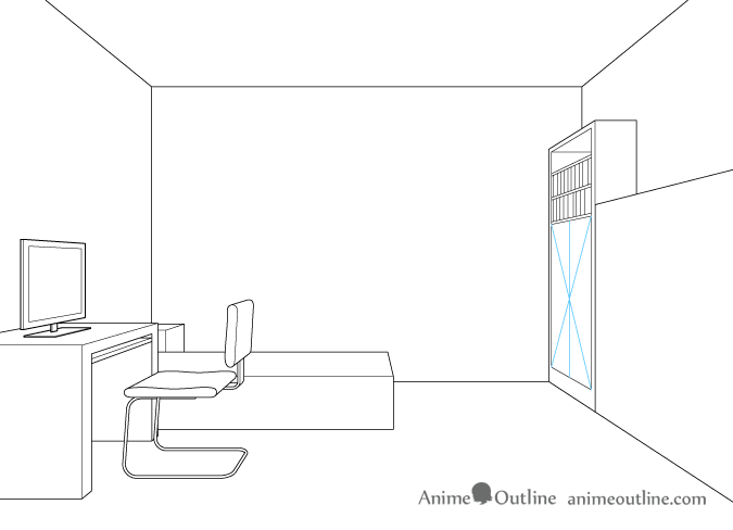 One point perspective drawing cupboard doors